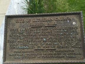 """Site of Lutheran Church Barren Hill""Plaque commemorating the Battle of Barren Hill"