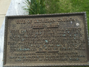 """Site of Lutheran Church Barren Hill""Plaque commemorating the Battle of Barren Hill"